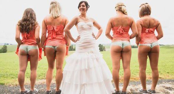 These cheeky bridesmaids flash some flesh at the camera [PINTEREST]