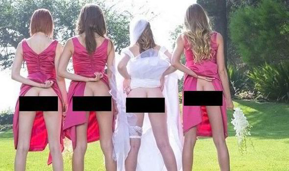 Brides and their bridesmaids are flashing their pants for a new wedding photo trend [PINTEREST]